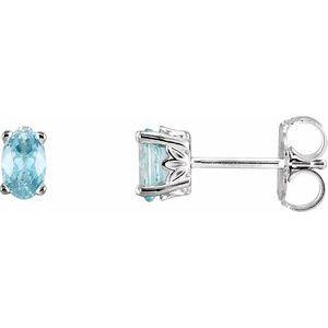 14K White Blue Zircon Earrings