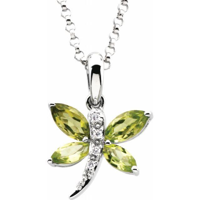 14K White Natural Peridot & .02 CT Natural Diamond Dragonfly 18
