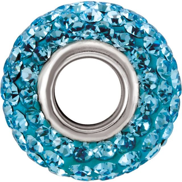 Sterling Silver 12x8 mm Bead with Pave Aqua Crystals
