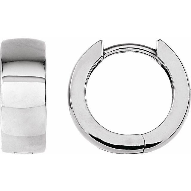 Sterling Silver 14 mm Hinged Hoop Earrings