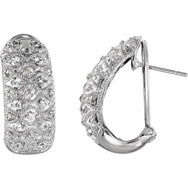 Sterling Silver Cubic Zirconia J-Hoop Omega Earrings