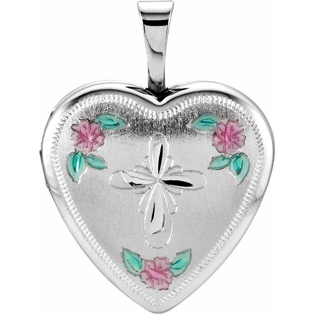 Sterling Silver 15.75 mm Tri-Color Cross & Roses Locket