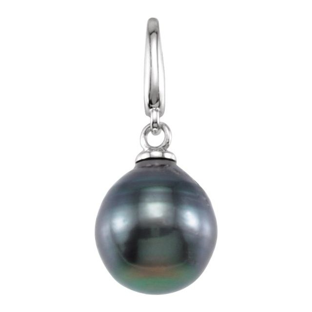 14K White Tahitian Cultured Circle Pearl Charm