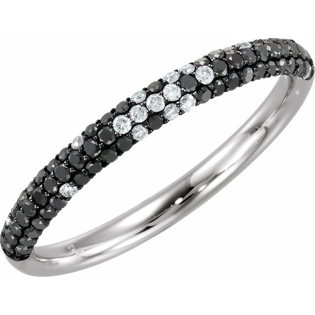 14K White Black Rhodium-Plated 3/8 CTW Black & White Diamond Micro Pavé Ring Size 7