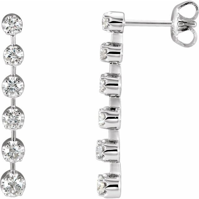 14K White 1 CTW Diamond Linear Earrings