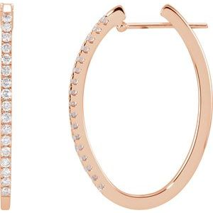 14K Rose 1/2 CTW Diamond Hoop Earrings