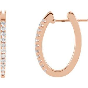 14K Rose 1/3 CTW Diamond Hoop Earrings