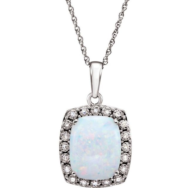 14K White Created Opal & .05 CTW Diamond 18