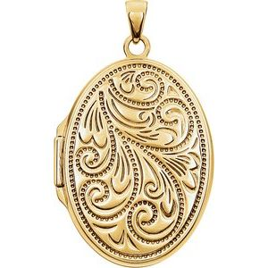 14K Yellow Gold-Plated Sterling Silver Oval Locket