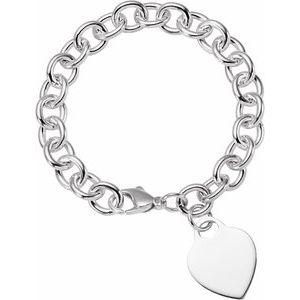 """Sterling Silver Heart Charm 7.5"""" Bracelet"""