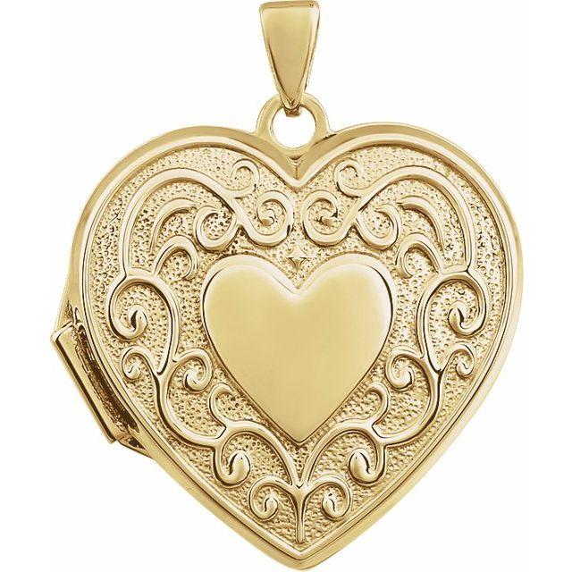 14K Yellow Heart Shaped Locket