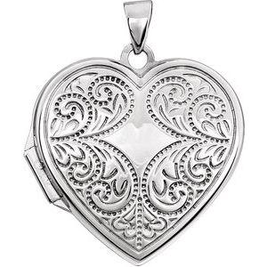 14K White Heart Locket