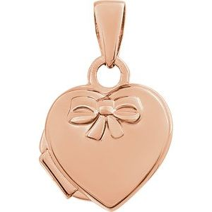 14K Rose Heart Embossed Bow Locket