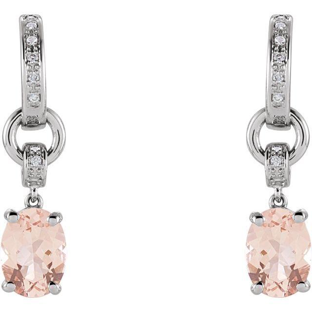 14K White Morganite & .05 CTW Diamond Hoop Earrings