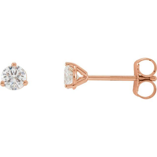 14K Rose 1/5 CTW Diamond Stud Earrings
