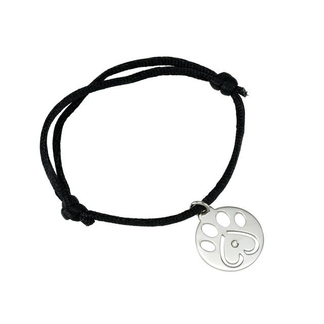 "Sterling Silver .02 CT Diamond Our Cause for Paws™ Black Satin Cord 6 1/2-8"" Bracelet"