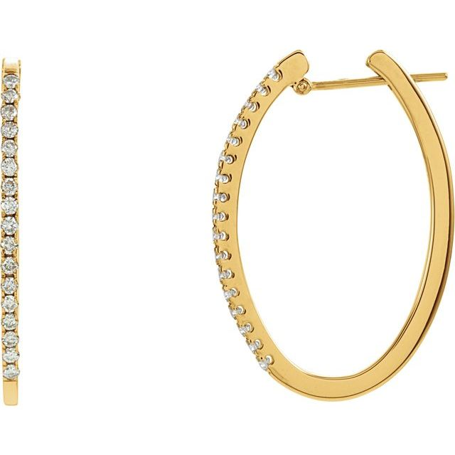 14K Yellow 1/2 CTW Diamond 29 mm Hoop Earrings