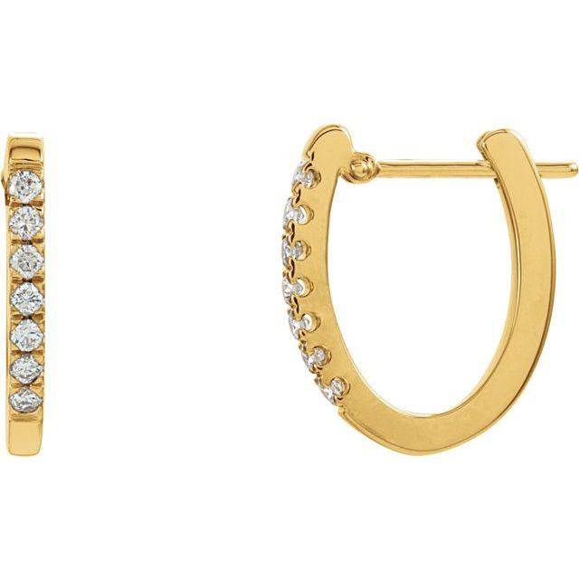 14K Yellow 1/5 CTW Diamond Hoop Earrings