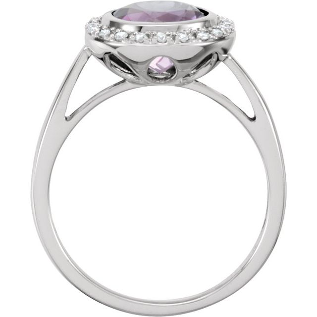 14K White Amethyst & 1/8 CTW Diamond Ring