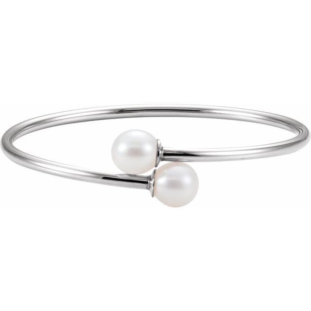 Sterling Silver 9.5 mm White Pearl Flexible Bangle Bracelet