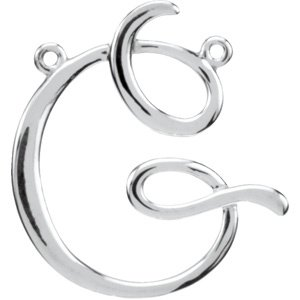 Sterling Silver Script Initial G Necklace Center