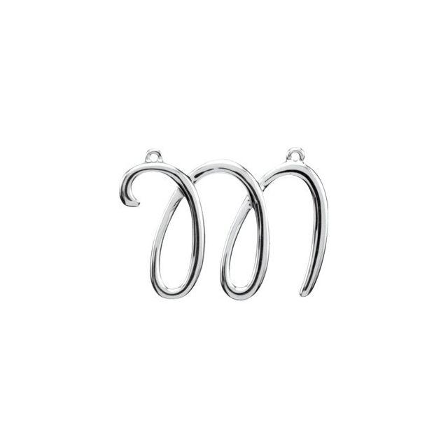 14K White Script Initial M Necklace Center