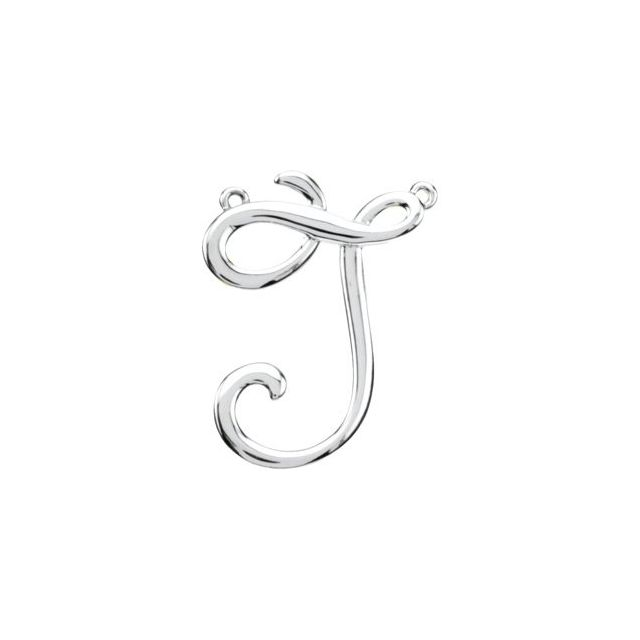 Sterling Silver Script Initial J Necklace Center