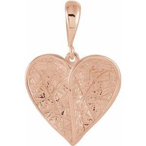 14K Rose Heart Pendant