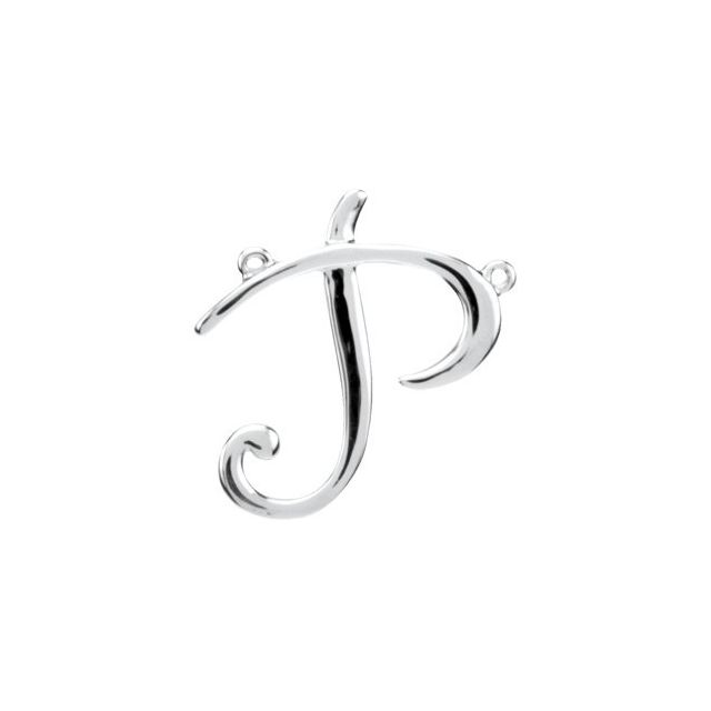 Sterling Silver Script Initial P Necklace Center