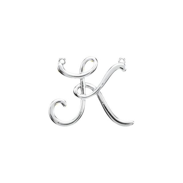 Sterling Silver Script Initial K Necklace Center