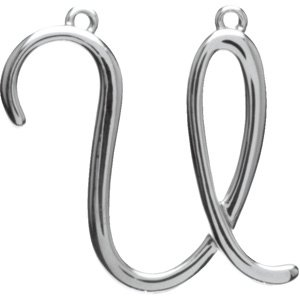 Sterling Silver Script Initial U Necklace Center
