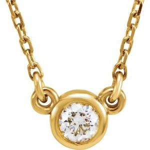 "14K Yellow 4 mm Round White Sapphire Bezel-Set Solitaire 16"" Necklace"