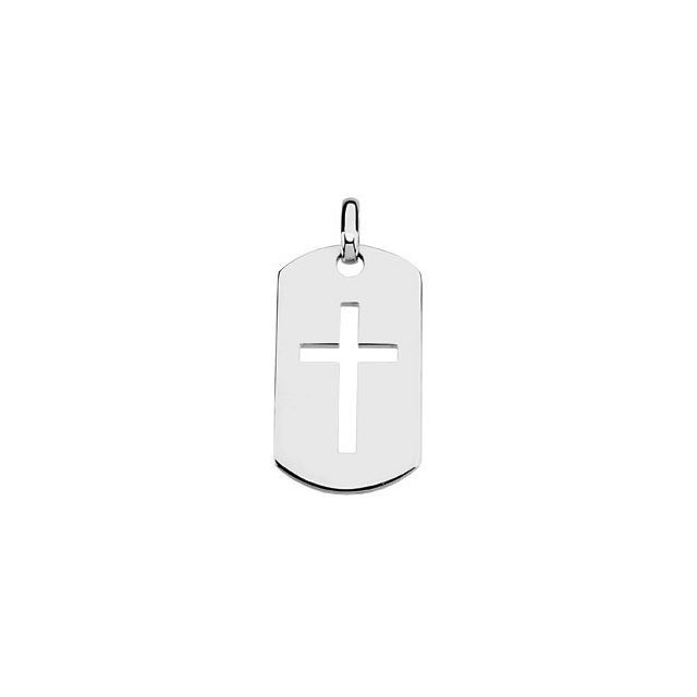 Sterling Silver 42x23.5 mm Dog Tag Cross Pendant