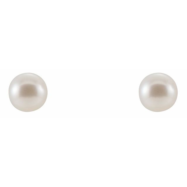 14K White Freshwater Cultured Pearl Earrings