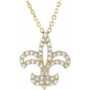 "14K Yellow 1/5 CTW Diamond Fleur De Lis 16"" Necklace"