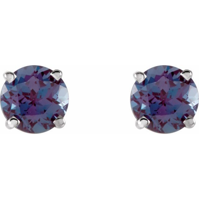 14K White 5 mm Round Chatham® Created Alexandrite Earrings