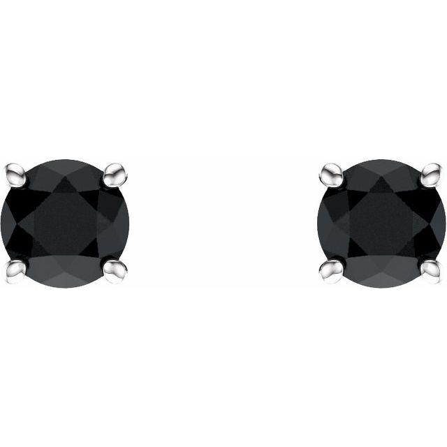 14K White 5 mm Round Onyx Earrings