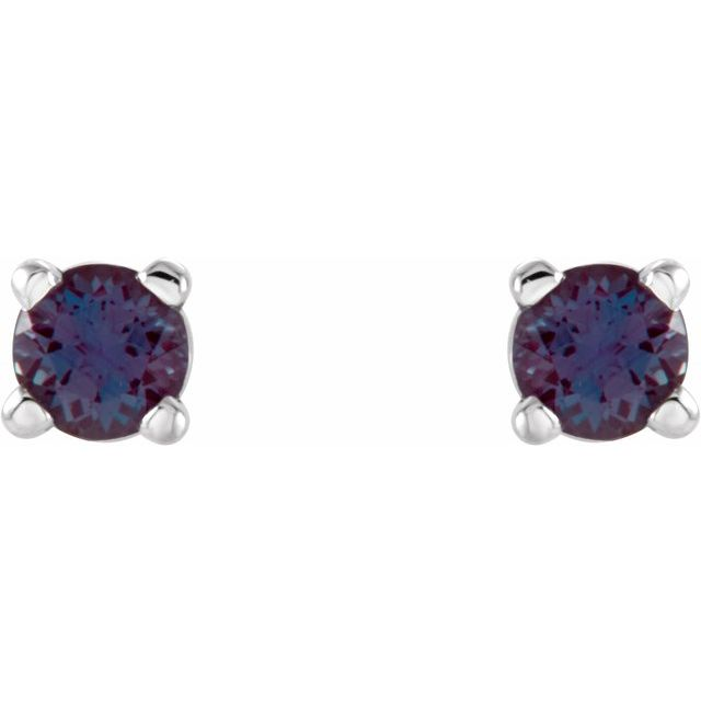 14K White 2.5 mm Round Chatham® Created Alexandrite Earrings