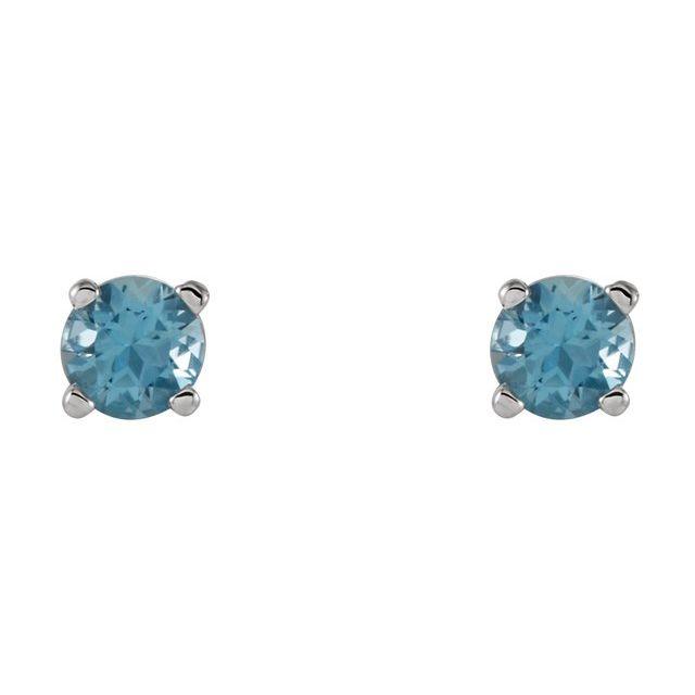 14K White 4 mm Round Swiss Blue Topaz Earrings