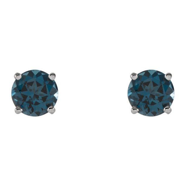 14K White 5 mm Round London Blue Topaz Earrings