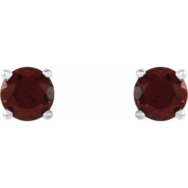 14K White 4 mm Round Mozambique Garnet Earrings
