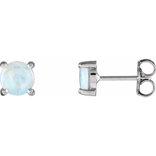 14K White Opal Cabochon Earrings