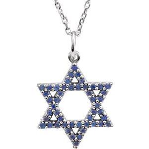 "14K White Blue Sapphire Star of David 16"" Necklace"