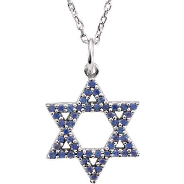 14K White Blue Sapphire Star of David 16