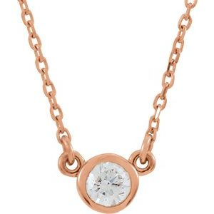 "14K Rose 1/6 CT Diamond Solitaire 18"" Necklace"