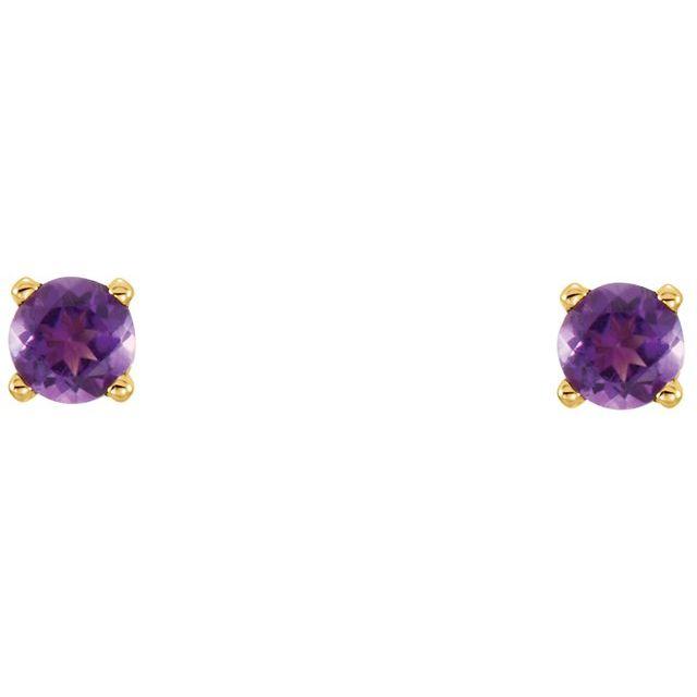 14K Yellow 3 mm Round Imitation Amethyst Youth Birthstone Earrings