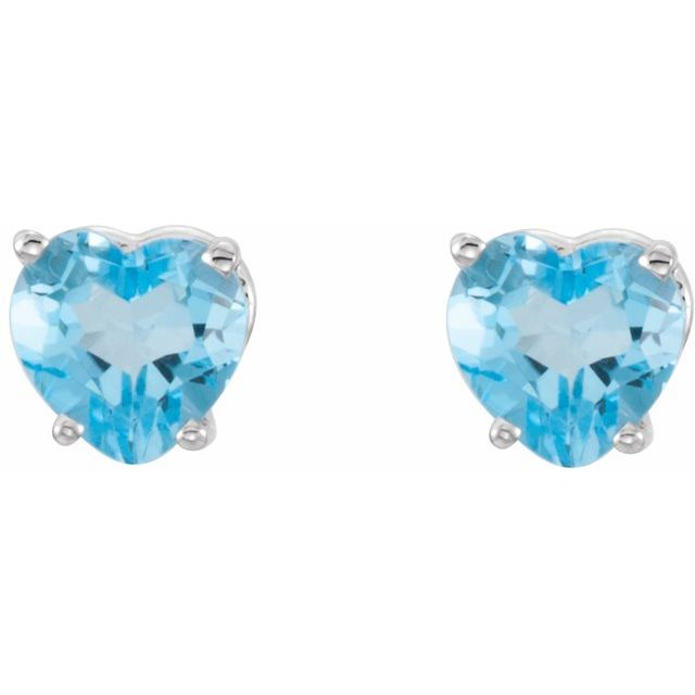 14K White Swiss Blue Topaz Heart Earrings