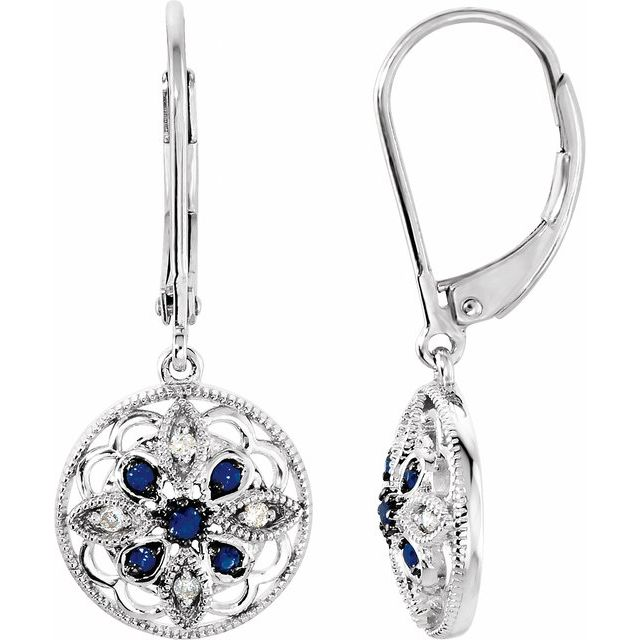 Sterling Silver Sapphire & .07 CTW Diamond Earrings