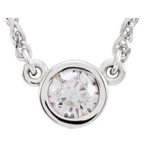"""14K White 1/4 CTW Diamond Bezel-Set Solitaire 18"""" Necklace"""
