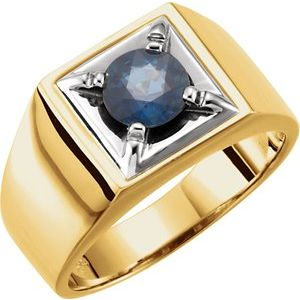 14K Yellow/White Blue Sapphire Illusion Ring